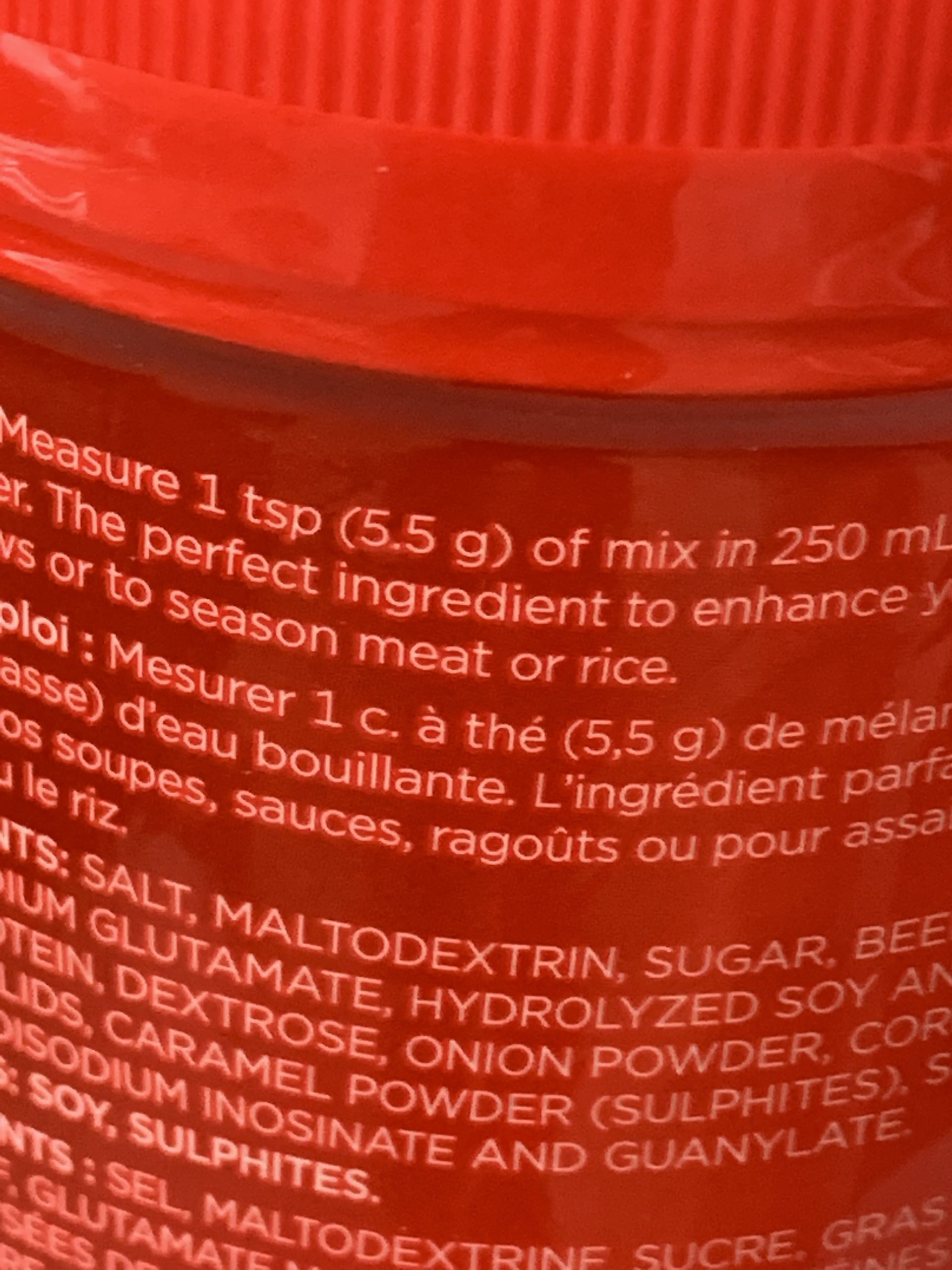 Instruction on how to use the product; our case it's 88g beef base for 4L water.
