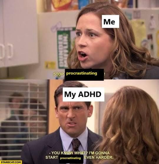 A picture of a scene in the office, ADHD joke